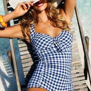 Seafolly Australia Blue Gingham Boyleg Halter One Piece Swimsuit US 8/ AUS 12